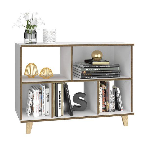 El estante Washington color blanco con detalles café lo hace un diseño exclusivo y moderno