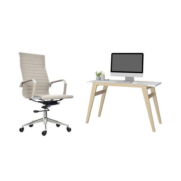 Combo escritorio sencillo con silla ideal para trabajar desde cualquier lugar