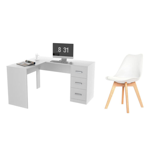Combo escritorio en L con tres cajones y silla con patas de madera
