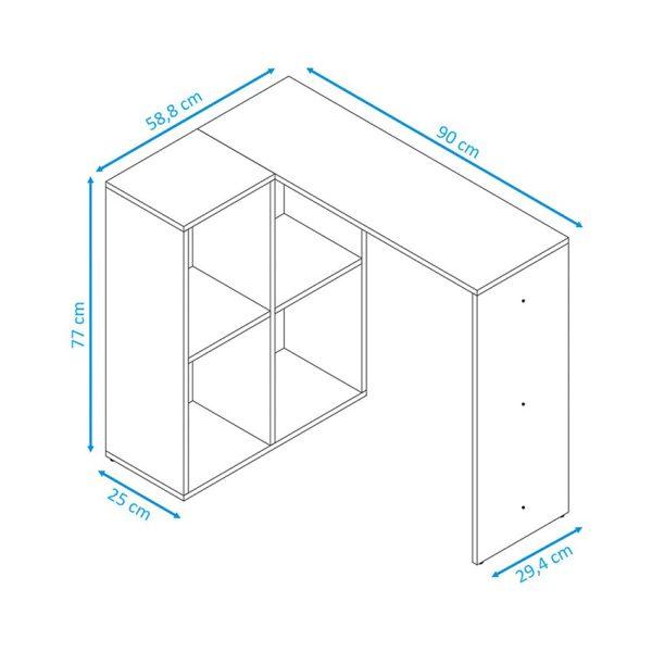 Combo escritorio estante y silla con patas de madera para espacios pequeños que optimizan el hogar u oficina