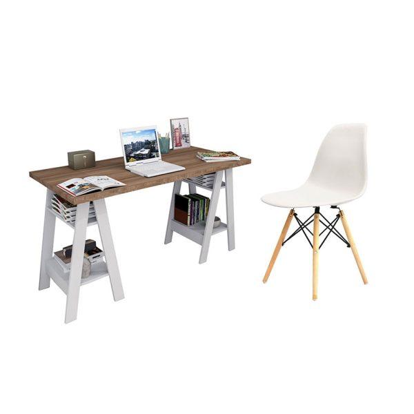 Combo escritorio con patas y silla con diseño monoconcha ideal para el hogar