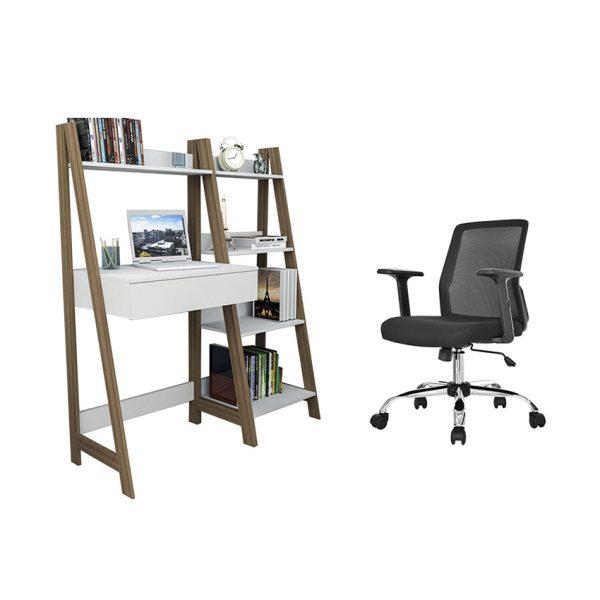 Combo de escritorio más biblioteca y silla con ruedas para facilitar el desplazamiento