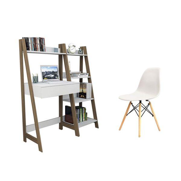 Combo de escritorio más biblioteca y silla con patas de madera