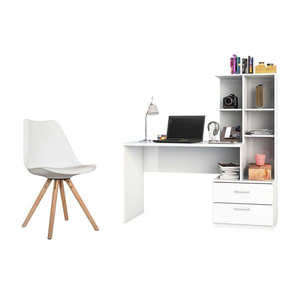 Combo de escritorio biblioteca más silla con patas en madera que optimizará los espacios de trabajo en el hogar u oficina