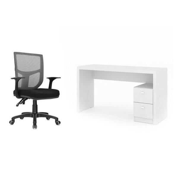Combo escritorio con dos cajones y una silla con ruedas para facilitar el trabajo en casa