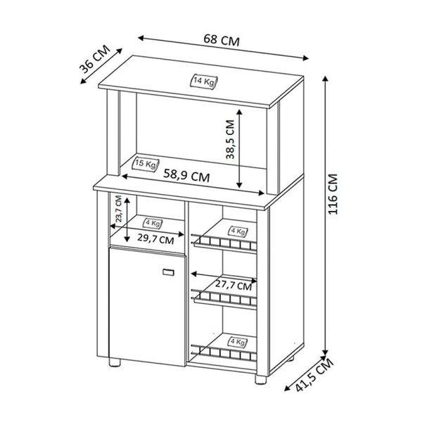 Mueble auxiliar de cocina ideal para ubicar electrodomésticos y utensilios de cocina en el mismo lugar