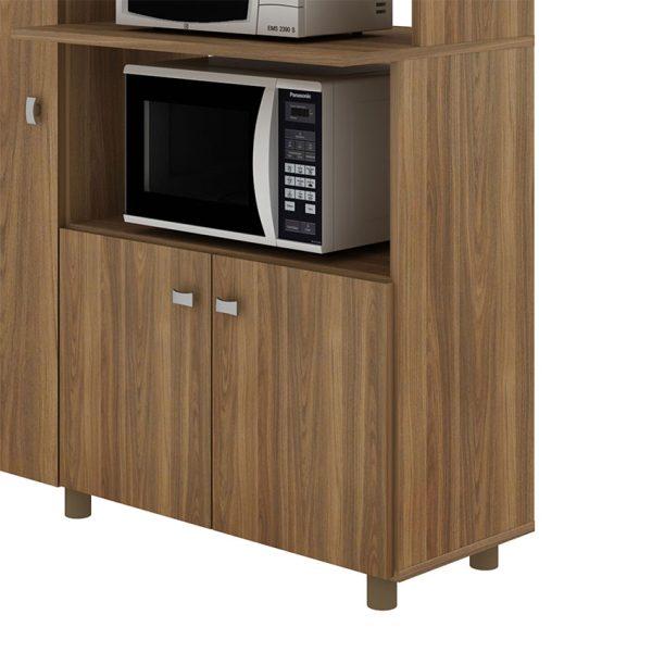 Mueble en MDP con dos compartimientos para electrodomésticos y tres puertas con estantes