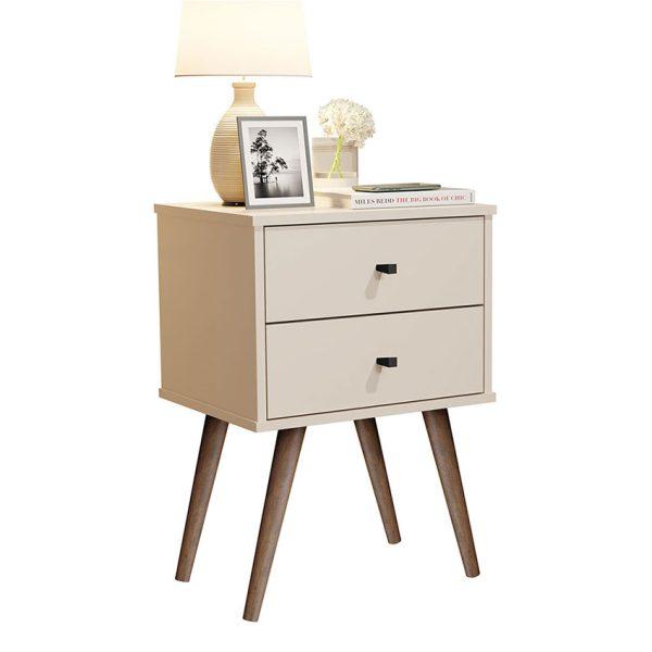 Mesa de noche con dos cajones para ubicar objetos y tenerlos a la mano