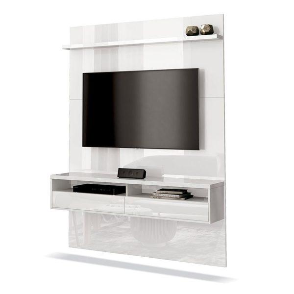 Panel de TV con elegante diseño, con repisa, dos compartimientos y dos puertas